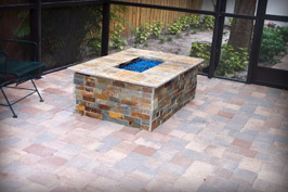 Custom Residential Crushed Glass and Propane Fire Pit